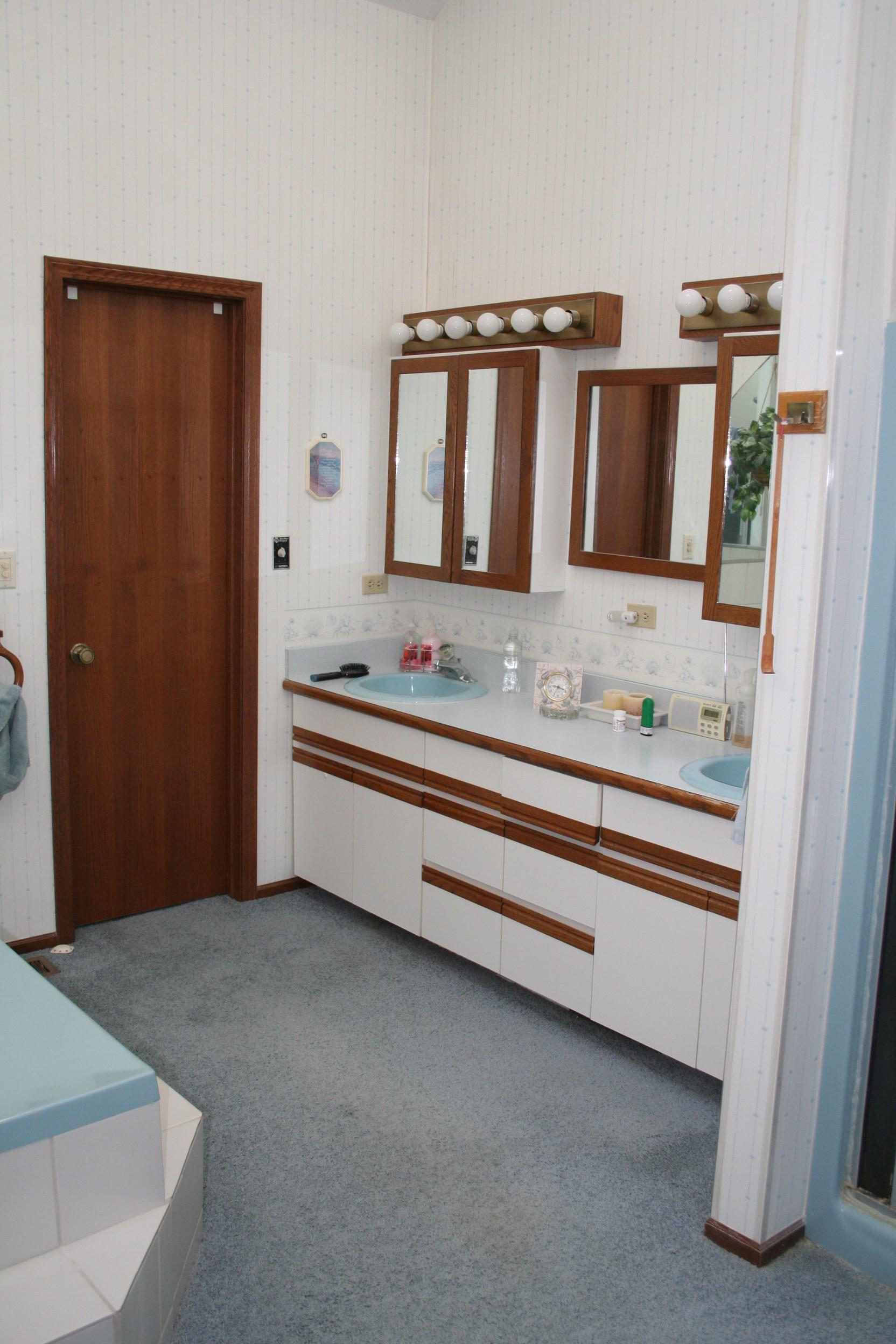 Blue carpet, blue sink, tub & shower had to go!