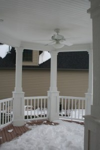 Front porch , imagine yourself in the summer under the fan with a cool beverage.