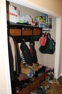 Before, a mudroom closet.