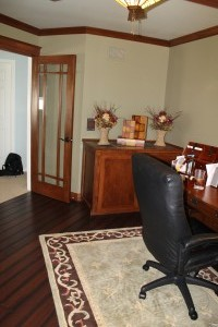 Master suite office area, added French doors, crown and base, and hardwood floors